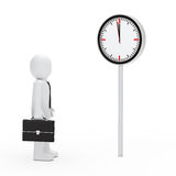 Business stand befor a clock. 3d business briefcase stand for a clock Royalty Free Stock Image
