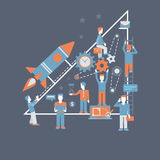 Business start flat infographics concept. Business starting rocket flat design infographics process concept template banner illustration. Rocket launch from hand Stock Illustration