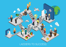 Business start succes flat 3d isometric infographic concept. Business start, ladders to success flat 3d isometric design infographic concept template vector Royalty Free Stock Images