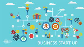 Business start up. Animated scheme with humans, icons and gears stock video footage