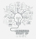 Business start up concept doodles icons set. Stock Photos