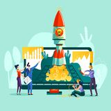 Business start up concept vector illustration. Open laptop, rocket taking off from it and team work on control, worker pushing start button. Spaceship stock illustration
