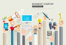 Business start up conceptual design. Set of business hands servi Royalty Free Stock Photography