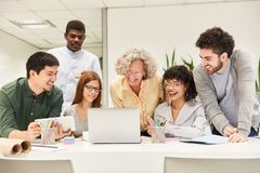 Business start-up developer team in a meeting royalty free stock photography