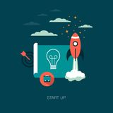 Business start up. Illustration of a business start up background with flat web design icons vector illustration