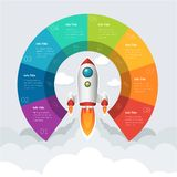Business Start Up Infographic Day Background in Vector Format. Infographics template of rocket or spaceship launches through the clouds with arrows, icons and royalty free illustration