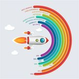 Business Start Up Infographic Day Background in Vector Format. Infographics template of rocket or spaceship launches through the clouds with arrows, icons and vector illustration