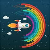 Business Start Up Infographic Night Background in Vector Format. Infographics template of rocket or spaceship launches through the clouds with arrows, icons royalty free illustration