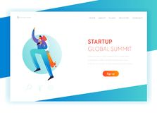Business Start Up Landing Page Template. Businessman Character Flying on the Rocket for Website. Innovation stock illustration