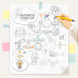 Business start up planning conceptual doodles icons Royalty Free Stock Image