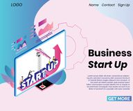Business Start-Up Process Isometric Artwork Concept vector illustration