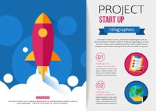 Business start up rocket infographics. Flat style design with place for text vector illustration