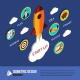 Business start up rocket space. Isometric flat style design with place for text vector illustration