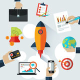 Business start up rocket space for presentation Royalty Free Stock Image