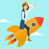 Business start up. A woman flying on the rocket with a forefinger pointing up on the background of blue sky vector flat design illustration. Square layout Stock Photography