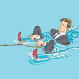 Business startup concept. Businessman in water skiing Royalty Free Stock Photos