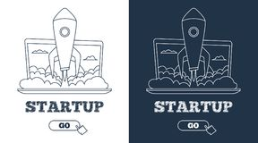 Business startup concept. Rocket flying out from laptop. Line art. Business startup concept. Rocket flying out from laptop. Line art Stock Photos