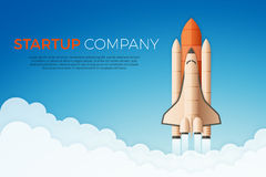 Business startup concept. Rocket or space shuttle launch. Vector illustration Royalty Free Stock Photo