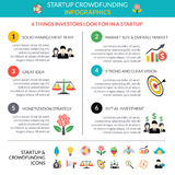 Business startup crowdfunding infographic layout. Poster with 6 important strategic hubs and pictograms symbols abstract vector illustration Stock Image