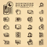 Business and Startup engraved icons set. Business and Startup engraved retro icons set Royalty Free Stock Photos