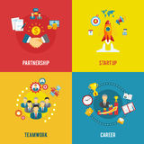 Business startup 4 flat icons square Royalty Free Stock Photography