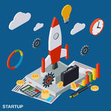 Business startup flat isometric vector concept Royalty Free Stock Images