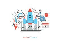 Business startup flat line illustration Royalty Free Stock Photo