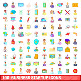 100 business startup icons set, cartoon style. 100 business startup icons set in cartoon style for any design vector illustration Stock Photography
