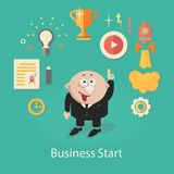 Business Startup Illustration. infographics with. Businessman,Gears and hand royalty free illustration