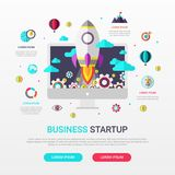 Business startup infographic flat design with rocket icon. Vector illustration Royalty Free Stock Photo