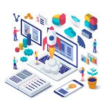 Business startup isometric concept. royalty free illustration