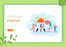 Business Startup Landing Page Template. Investment, Career Boost and Strategy Banner with Characters Launches Rocket vector illustration