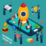 Business startup launch concept isometric poster Royalty Free Stock Photography