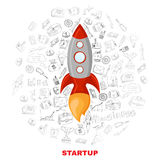Business startup launch concept poster print stock illustration
