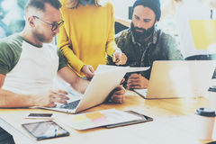 Business Startup People Brainstorming Process Office.Coworkers Making Great Decisions.Young Bearded Hipsters Team. Discussion Corporate Work Concepts.Creative Royalty Free Stock Photo
