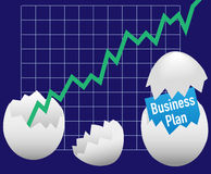 Business startup plan hatch egg growth. Open for business eggs hatch start up plans grow revenue chart Stock Photo