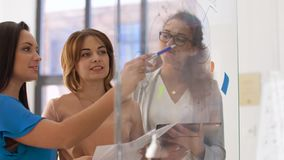 Businesswomen with pie chart on office glass board. Business, startup, planning and people concept - happy creative female team or businesswomen with papers and stock video