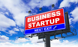 Business Startup on Red Billboard. Royalty Free Stock Photography