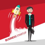 Business Startup Vector Design with Rocket Launch. And Businessman royalty free illustration