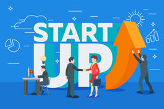 Business startup work moments flat banner. Stock Photo