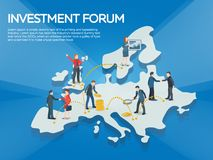 Business startup work moments flat banner. People on the europe map 3d. New ideas, search for investor, increased profits. Busines stock photos