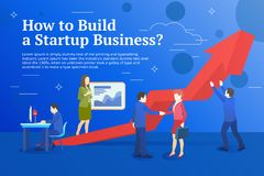 Business startup work moments flat banner. Business process and project management. New ideas, search for investor, increased prof. Its. Vector illustration of a Royalty Free Stock Photos