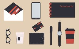 Business stationery in corporate identity trendy colors.Glasses and notebook.Pencil and pen. A wallet. Wrist watch.Credit cards. Mobile phone. Cup of tea and stock illustration