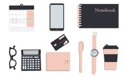 Business stationery in corporate identity trendy colors:navy and pink.Notebook.Calendar and pen. A wallet. Wrist watch.Credit stock illustration