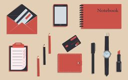 Business stationery in corporate identity trendy colors vector illustration
