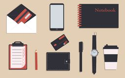 Business stationery in corporate identity trendy colors.To do list and notebook.Pencil and pen. A wallet. Wrist watch.Credit cards. Mobile phone. Cup of coffee royalty free illustration