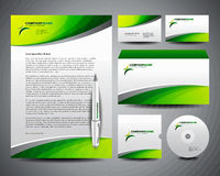 Business Stationery Template Green. Well prepared and designed business stationery templates with strong and remarkable corporate identity Stock Image