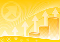 Business statistic. Financial chart on orange background symbolizes success in business Royalty Free Stock Photos