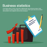 Business statistic or analytics with carts. Business statistic or analytics with charts. Growth or increasing of bar graph or diagram with arrow, pen writing on Royalty Free Stock Photography
