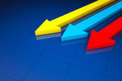 Business Statistic concept. 3d arrows. On a blue background Royalty Free Stock Image